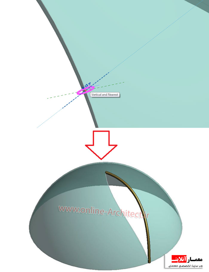 آموزش طراحی گنبد شیشه ای در رویت - معمار آنلاینترفند کشیدن گنبد شیشه ای در رویت