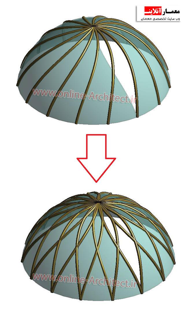 آموزش طراحی گنبد شیشه ای در رویت - معمار آنلاینطراحی گنبد در رویت