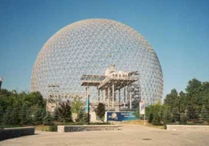سازه مثلثي ، هندسه اقتصادي با ايستايي زياد – گنبد ژئودزيك - فولر